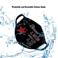 "FCM-004  American Bling ""Blessed is the Nation Whose God is the Lord ""Fabric Face Mask Double Layer Set of 2"