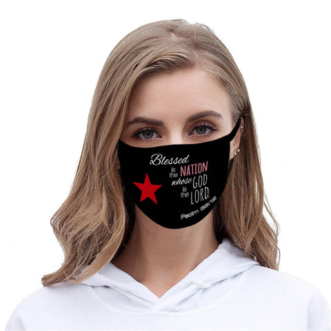 "FCM-004 ""Blessed is the Nation Whose God is the Lord ""Fabric Face Mask Double Layer Set of 2"