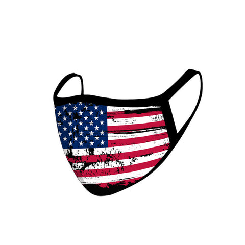 SFCM-017 American Bling Single Piece Pack US Flag Fabric Face Mask Double Layer 1PCs