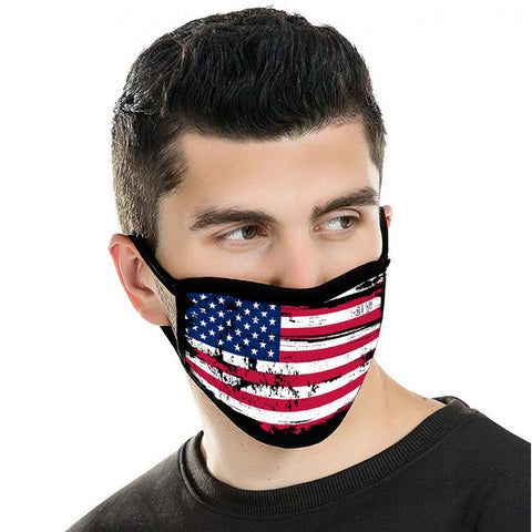 FCM-017 American Bling US Flag Fabric Face Mask Double Layer 2PCs
