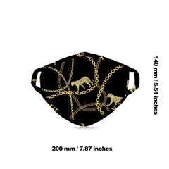 FCM-040  American Bling  Black Leopard Chain Print Cloth face Mask 1Pcs