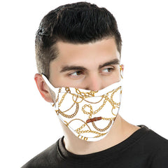 FCM-041 American Bling  White Chain Print Cloth face Mask 1Pcs