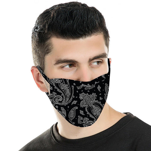 FCM-044  American Bling  Black Paisley Print Cloth face Mask 1Pcs