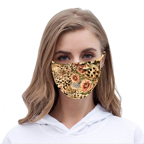 FCM-045  American Bling Leopard Flower Print Cloth Face Mask 1Pcs