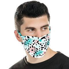 FCM-046  American Bling White Floral Print Cloth Face Mask 1Pcs