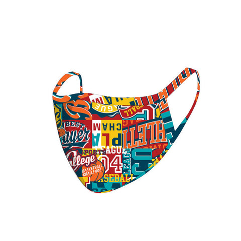 FCM-048  American Bling Multi Color Words Print Cloth Face Mask 1Pcs