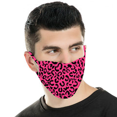 FCM-052  American Bling Hot Pink Leopard Print Cloth face Mask 1Pcs