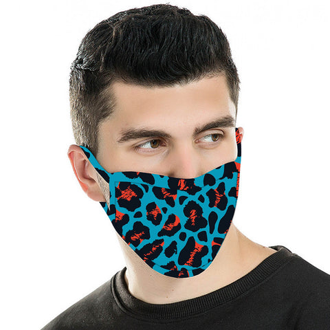 FCM-056  American Bling Blue Leopard Print Cloth Face Mask 1Pcs