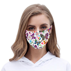 FCM-059  American Bling White Butterfly Print Cloth Face Mask 1Pcs