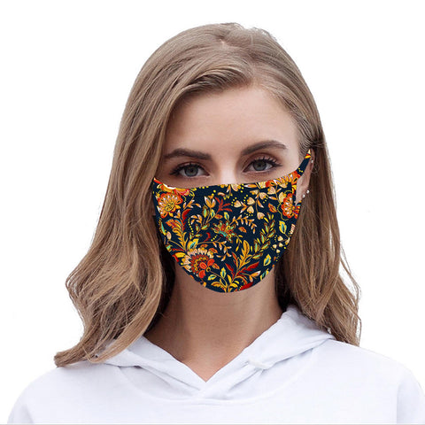 FCM-063  American Bling Multi Color Floral Print Cloth Face Mask 1Pcs