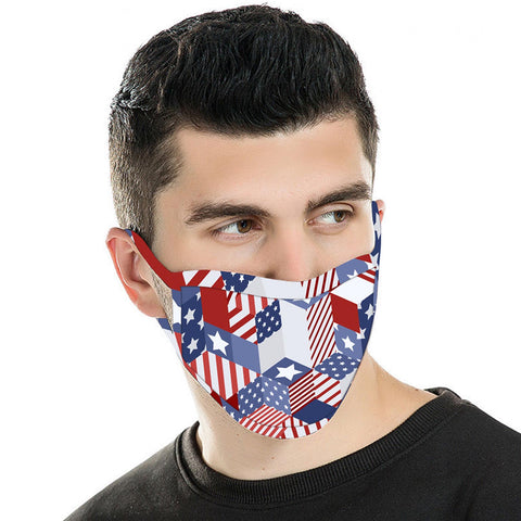 FCM-065 American Bling US Flag Collection Print Fabric Face Mask Double Layer -1Pcs