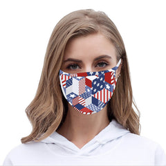 FCM-065 American Bling US Flag Collection Print Fabric Face Mask Double Layer -2Pcs