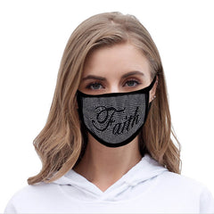 "FCM-B101  American Bling"" FAITH"" Bling Bling Fabric Mask Double Layer 1Pcs Set"