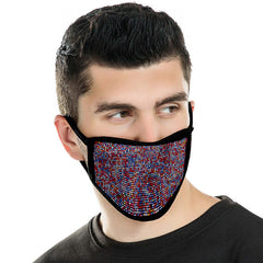 FCM-B104  American Bling Multi Color Bling Bling Fabric Mask Double Layer 1Pcs Set