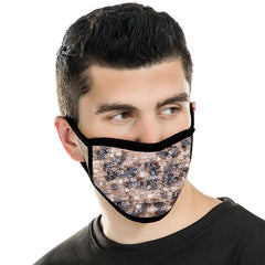 FCM-B105  American Bling Sequin Leopard Print Fabric Mask Double Layer 1Pcs Set