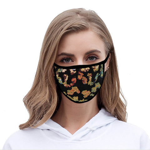 FCM-B109  American Bling Sequins Bling Fabric Mask Double Layer 1Pcs Set