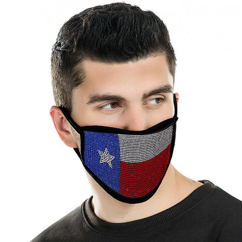 FCM-BTX01 Bling Rhinestone Mesh Texas Flag Design Double Layer Face Mask 1Pc Pack