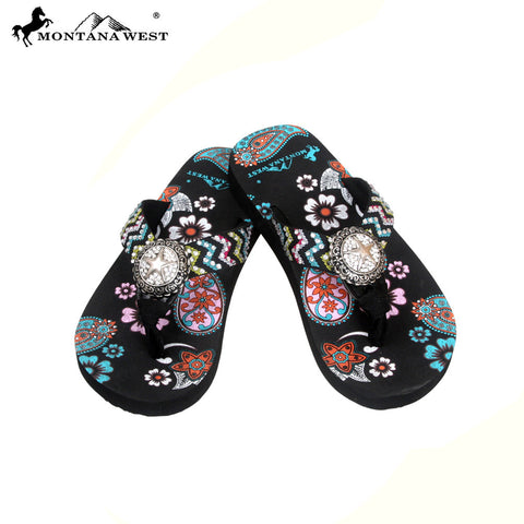 FK04-S089 Aztec Kid Thin Sole Collection Flip Flops BY CASE