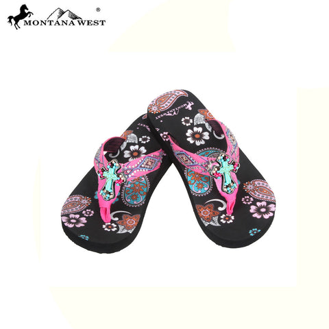 FK02-S088 Aztec Thin Sole Kid Collection Flip Flops BY CASE