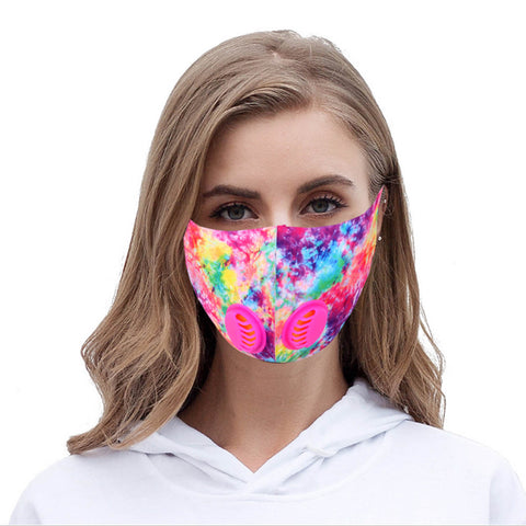 FM-7003DR Multi Color Print Double Breathing Valve Single Ply Face Mask