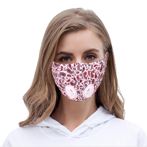 FM-7004DR  White Paisley Print Double Breathing Valve Single Ply Face Mask