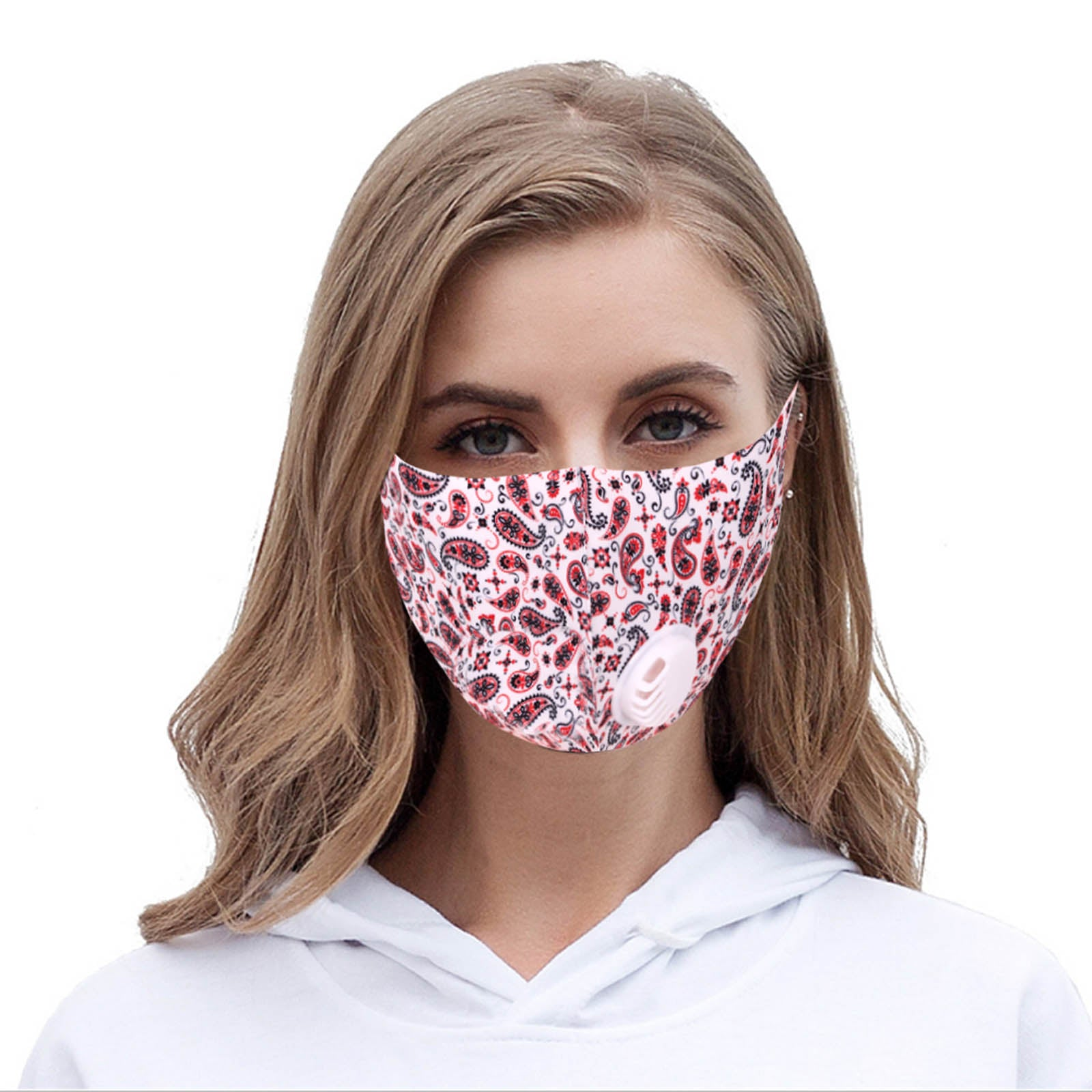 FM-7004R   White Paisley Print Single Breathing Valve Single Ply Face Mask