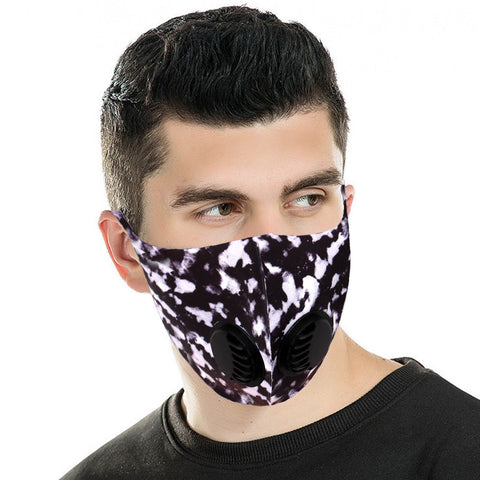 FM-7005DR   Black Camo Print Double Breathing Valve Single Ply Face Mask