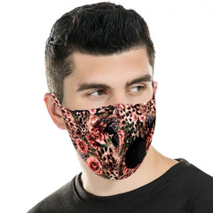 FM-7007R   Leopard Flower Print Single Breathing Valve Single Ply Face Mask