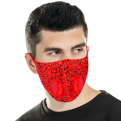 FM-7010DR  Red Paisley Print Double Breathing Valve Single Ply Face Mask