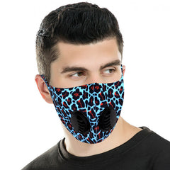 FM-7011DR  Turquoise Leopard Print Double Breathing Valve Single Ply Face Mask