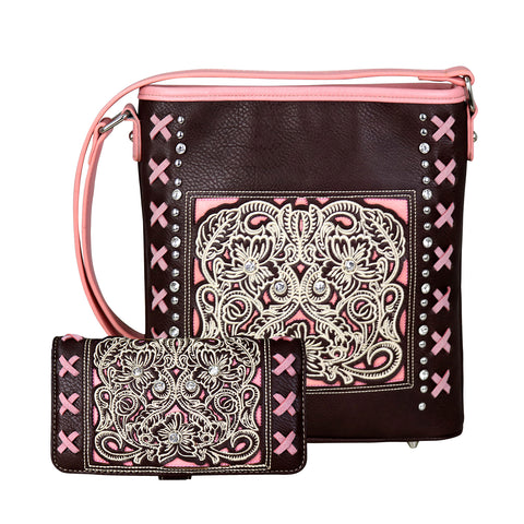 ABM-G2203 American Bling Floral Embroidered Crossbody and Wallet Set