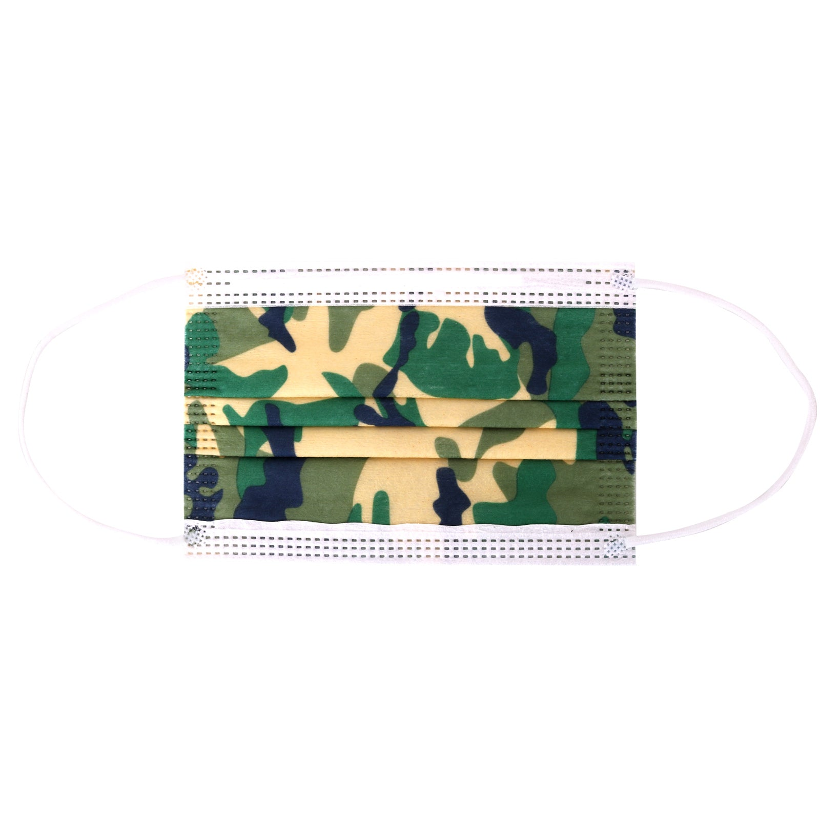 KD-FMGN  American Bling Kids 3 Ply Disposable Green Camo Face Mask Non-Medical (5pcs/Pack)