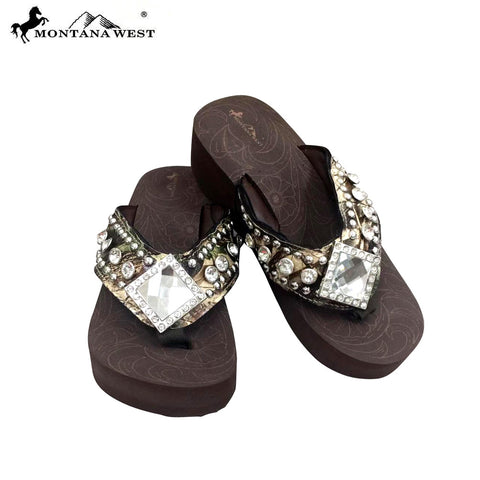 HF-S002  Diamond Shape Concho Camo Collection Flip Clop By Case
