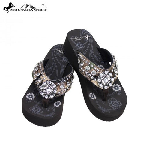 HF-S016A Camo Floral Concho Collection Flip Flops by Case