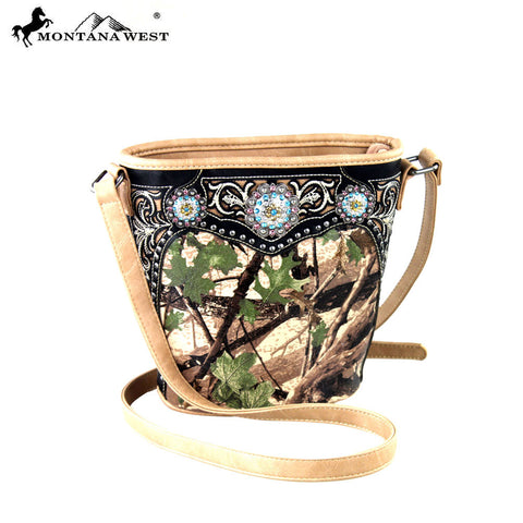 HF12-8287 Montana West Camouflage Collection Bucket Shaped Crossbody