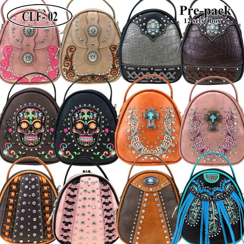 CLF-02 American Bling Mini Backpack/Crossbody Pre-Pack 12Pcs/Box
