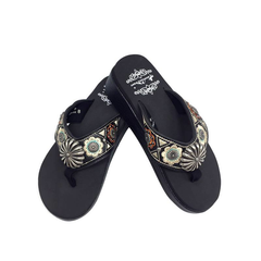 SF05-S144 Montana Western Concho Embroidered Wedge Flip-Flop By Size