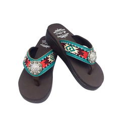 SE88-S001 Aztec Embroidered Wedge Flip-Flop By Size