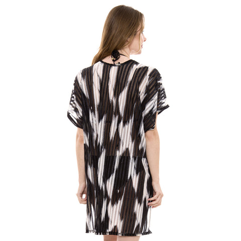 JP1358  Black & White Topper / Cover-Up / Kimono