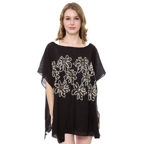 JP1360  Poncho with Embroidered Sequins Floral