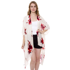 JP1369  Long Lightweight Floral print Topper / Cover-Up / Kimono with short trims