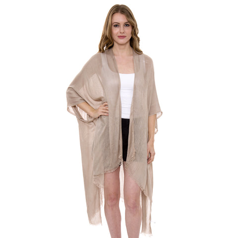 JP1372 Solid Color Topper/Cover-Up / Kimono with Fringe
