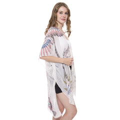 JP1376  Long Light Feathers print Topper / Cover-Up / Kimono with short trims