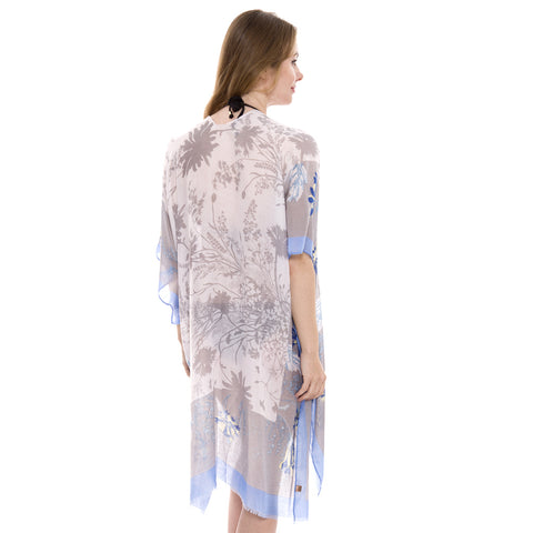JP1405  Long Lightweight Floral print Topper / Cover-Up / Kimono with short trims