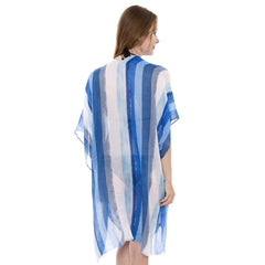 JP1410  Long Lightweight Stripes print Topper / Cover-Up / Kimono with short trims