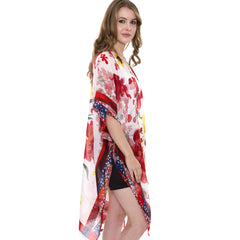 JP1414  Floral print Super Light Long Topper / Kimono with side slit