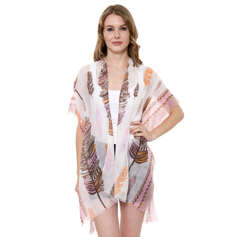 JP1418  Feather Print Short Light Topper / Cover-Up / Kimono