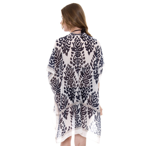 JP1421  Pattern Print Kimono with side slit