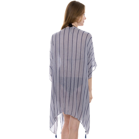 JP1915  Stripes pattern Long Kimono with side slit
