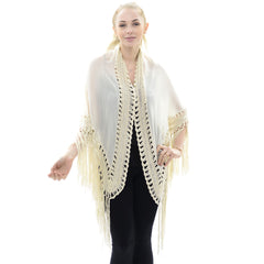 JP647  Crochet Kimono with Lace Trim and Fringe
